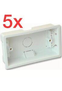 5x Deep 2 Gang,double Dry Lining,Pattress Box ,Wall,plasterboard Back Box,white