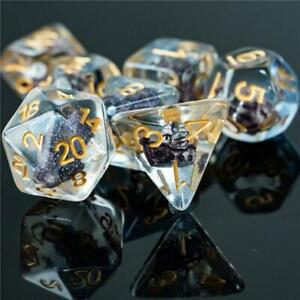 Boat Dice Clear Dice w/ Brown Boat 7-Dice Set Rpg