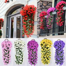 Artificial Fake Violet Orchid Flower Hanging Wall Rattan Basket Decor Outdoor Us