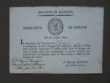 Biglietto Alloggio Firenze Comunità 1805 Guardia Nazionale Cavallo Bologna Carta