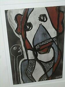 Gerard Sendrey France Artist 1998 Ink on Postcard DEUX VISAGES Saslow Galleries