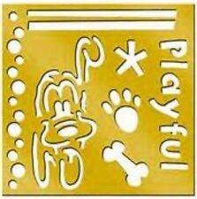 PLUTO  Disney - dog bone paw   Brass Stencil  - NEW - card making , scrapbook