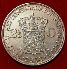 Netherlands 2-1/2 Gulden, 1930 Y-47 Queen Wilhelmina silver crown KM# 165