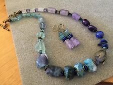 Natural Semi-precious Gem Stone Selection Necklace 50 cm And Earrings Set