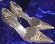 Prada, Brown And Beige Snakeskin Pumps Heels, Open Sides, Size 37.5