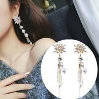 Bunte Kristallblume simulierte Perlenquaste Ohrringe für Frauen-Schmuck Neu