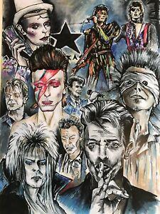 David Bowie Fine Art Print A3 Labyrinth Heroes Blackstar Aladdin Sane Ltd Ed 50