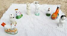 ANTIQUE ORIGINAL SCARCE BEAUTIFUL LOT OF 8 PORCELAIN WHISTLES- EXCELLENT WORKING