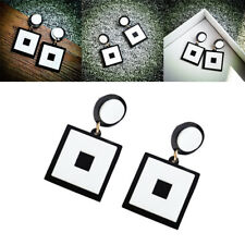 Lady Girl Fashion Geometric Black and White Drop Stud Earrings Hot