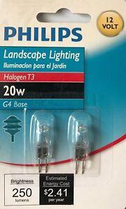 2 Philips Landscape 20-Watt 12-V T3 Bi-Pin Halogen Light Bulbs w/G4 Base - NEW