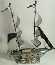 VTG MCM ART DECO CHROME BOAT SHIP SAILBOAT YACHT SCHOONER TABLE TV LAMP WORKS