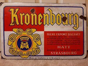 """Large Kronenbourg 1664 Beer Bar Tavern Gas Oil 23"""" x 15"""" Porcelain Metal Sign"""