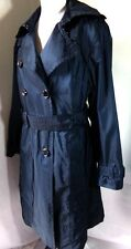 Women's East 5th Long Trench Coat Navy Blue Double Breasted Size XL