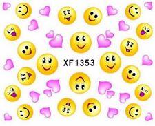 Accessoire ongles nail art , Stickers décalcomanie, motifs Emoji et coeurs