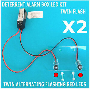 Twin Flash Switchable Dummy Alarm LED - RED LED & Bracket 10 Yr Batt TWIN PACK