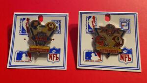 WASHINGTON REDSKINS Pin Lot Set of 2 SUPER BOWL XXII XXVI 22 24 Vtg NFL Football