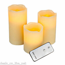 ANIKA SET OF 3 LED CANDLE SET WAX MOOD LED FLAMELESS CANDLES WITH REMOTE CONTROL