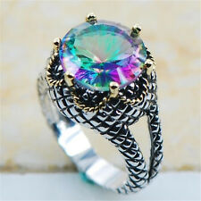 925 Silver Colorful Zircon Rings Lady Engagement Bridal  Jewelry Size 8