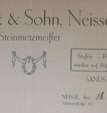 ALTE RECHNUNG NEISSE NYSA POLEN  STEINMETZMEISTER H. GORLT & SOHN CA 1932