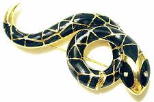 VINTAGE BLACK SNAKE SERPENT GILDED DESIGNER PIN RHINESTONE EYE SPHINX for KJL