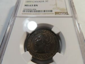T24 Canada 1899 Large Cent NGC MS-63 Brown