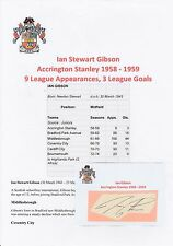 IAN GIBSON ACCRINGTON STANLEY 1958-1959 RARE ORIGINAL HAND SIGNED CUTTING/CARD