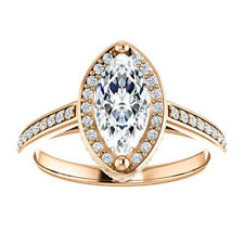 2.00Ct Diamond Wedding Band Hallmarked 14K Rose Gold Engagement Rings Size N