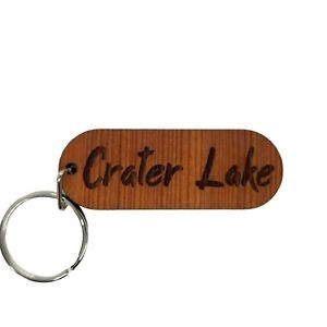 Crater Lake Keychain Spellout Souvenir Travel Gift - Wood Gift Key Chain