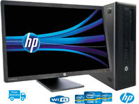 "HP 600G1 4TH GEN PC SFF i3- 8GB 240SSD DESKTOP TOWER COMPUTER  WIN 10/22"" LCD"