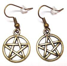 BRONZE PENTAGRAM_Charm Earrings_Pentacle Wiccan Pagan Witch Star Boho Brass_25E