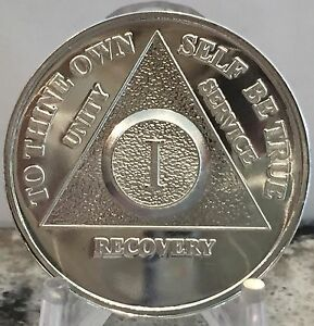 1 Year .999 Fine Silver AA Alcoholics Anonymous Medallion Chip Coin One .6 Ounce