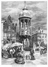 Magdeburg, Ansicht mit dem Denkmal Kaiser Ottos, Original-Holzstich von 1901