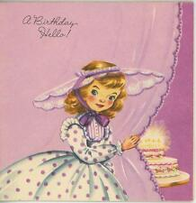 VINTAGE CUTE GIRL CHILD PURPLE POLKA DOT DRESS LACE HAT BIRTHDAY CARD ART PRINT