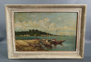 Antique Italian Oil on Board Seascape Painting Fisherman Quay Bay Wood Sail Boat
