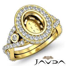 Oval Bezel Semi Mount Diamond Engagement Cross Shank Ring 18k Yellow Gold 1.65Ct