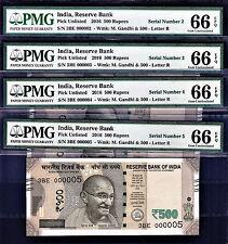 India 1 X 500 Rupees 2016 LOW Serial 000002, 03, 04, 05 GEM UNC PMG 66 EPQ