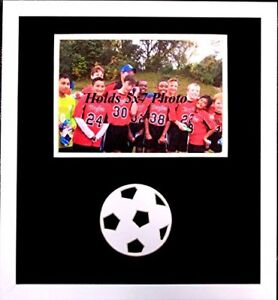 Soccer Frame for 5x7 Photo Wall hangs Vertical or Horizontal Carved Ball