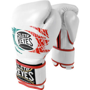 Cleto Reyes Hook and Loop Leather Training Boxing Gloves - 16 oz - Mexican Flag