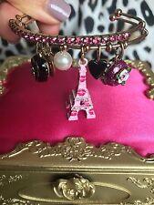 Betsey Johnson Paris Is Always A Good Idea Pink Cake EiffelTower Bangle Bracelet