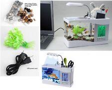 MINI ACQUARIO VASCA PESCI LCD USB LED FONTANA OROLOGIO DATARIO DISPLAY SUONO *A*