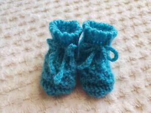 Handmade Newborn Aquamarine Baby Booties