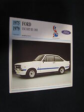 Collectors Card Ford Escort Mk2 RS1800 1975 - 1979 (NED) (JvH) #DS5 019 20-10