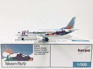 Herpa Wings Western Pacific Boeing 737-300 Colorado Springs 1:500 N951WP 519151