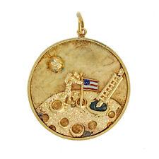 Rare Man On The Moon Enamel Circle Pendant Charm, 14 Karat Yellow Gold