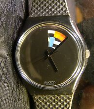 Men's SWATCH COLOR WINDOW Black No Numbers Rotating Color Wedge Watch 1988 GB715