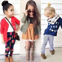 Toddler Kids Baby Girl T-shirt Tops+Coat+Pants/Dress Outfits Clothes 3/2PCS Suit