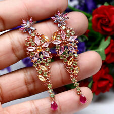 NATURAL FANCY CLR SAPPHIRE RUBY TANZANITE & PERIDOT LONG EARRINGS 925 SILVER