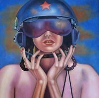 DIE PILOTIN 9 canvas Öl auf Leinwand Gemälde Gr. ca. 33x33 cm