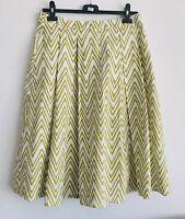 Jasper Conran White Lime Chevron A-Line Flared Midi Skirt Modest 1960s Size 12