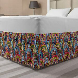 Ambesonne Floral Bedskirt, Hippie Style Abstract Blooms with Aztec Tribal Geomet